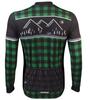 Aero Tech Long Sleeve Brushed Fleece Lumberjack Cycling Sprint Jersey Green Back View