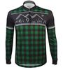 Aero Tech Long Sleeve Brushed Fleece Lumberjack Cycling Sprint Jersey Green Front View
