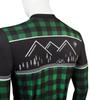Aero Tech Long Sleeve Brushed Fleece Lumberjack Cycling Sprint Jersey Green Off Back Detail