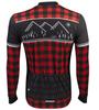 Aero Tech Long Sleeve Brushed Fleece Lumberjack Cycling Sprint Jersey Red Back View