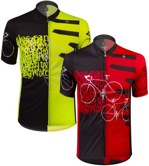 Tall Men's Sprint Jersey Expressions Red and Safety Yellow Cycling Jersey Front