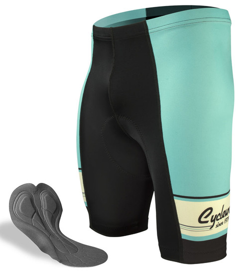 Aero Tech Men's Sprint Shorts - 1979 Retro Active - Cyclewear Celeste Green PADDED Bike Short