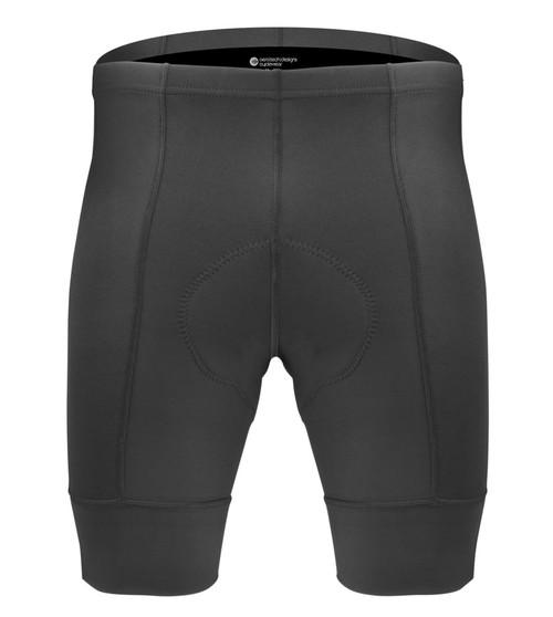 Aero Tech Men's Destination Bike Shorts - PADDED Black Pearl Pad and Elastic Free Leg Cuffs