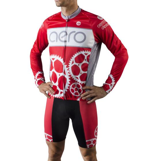 Aero Tech Men's Peloton Long Sleeve Jersey - Sprocket Man - Red