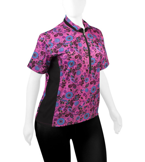 Aero Tech PLUS SIZE Women's Gina Cycling Jersey - Loose Fit Pink Paisley