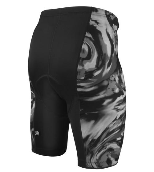 Aero Tech Men's Silver Wave Wild Print PADDED Bike Shorts