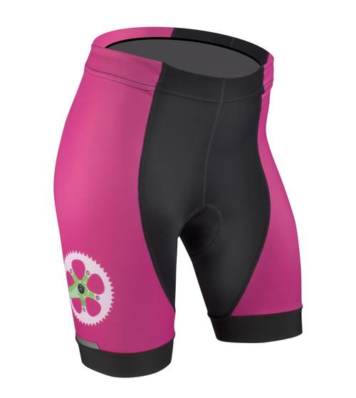Aero Tech Women's Empress Shorts - Strawberry Fields - PADDED Printed Bike Shorts Cute Pink Bike Shorts