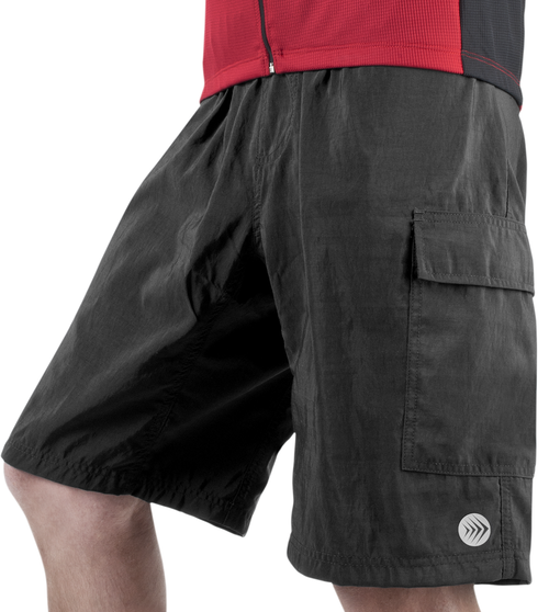 Cargo Mountain Bike Shorts with Padded Underliner Black Front View
