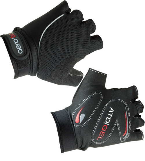 Aero Tech Youth Gel PADDED Fingerless Bike Gloves BLACK