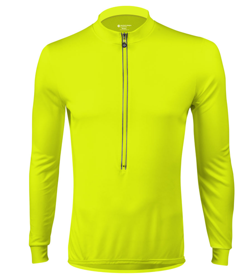 Aero Tech Long Sleeve Cycling Jersey High Visibility Safety Yellow Front View