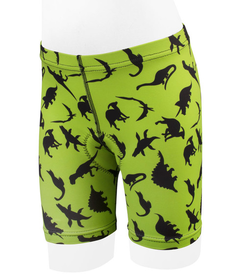 Kid's Dinosaur PADDED Bike Shorts Din-O-Mite - High Visibility Green
