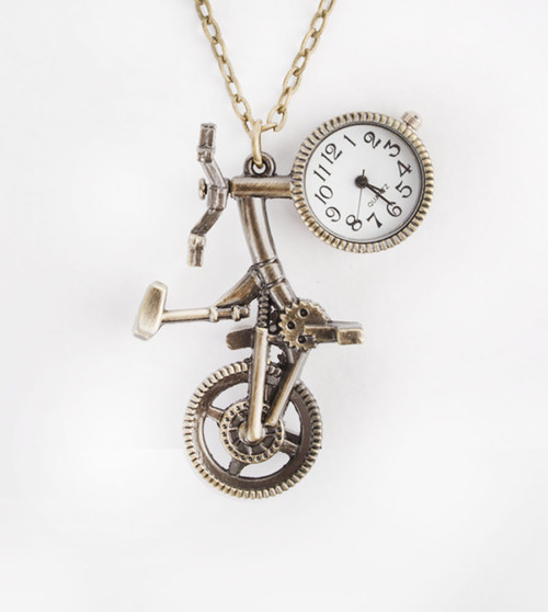 Fad Treasures' Antique Gold Bike Necklace