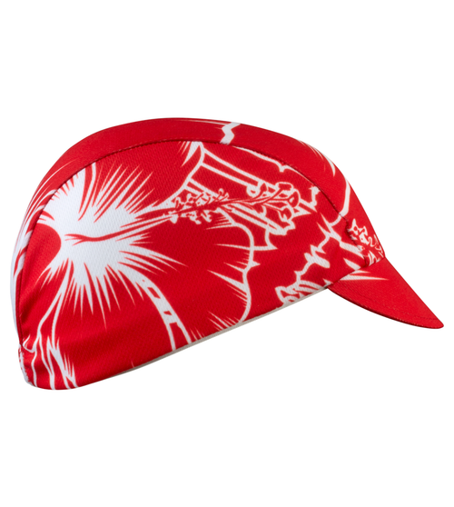 Red tropical print cycling hat