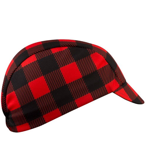 Side of Red flannel bicycle hat