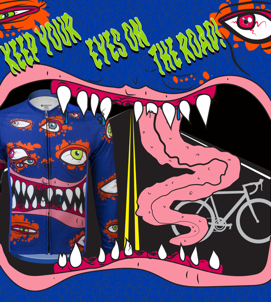 Eyes on road Halloween cycling jersey