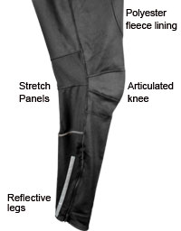 Men's Thermal Wind Proof Pants Features