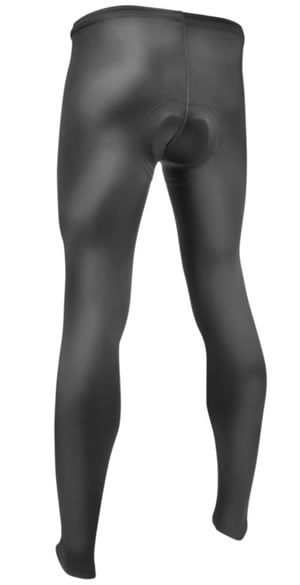 Men's Black Spandex Cycling Tights Back View