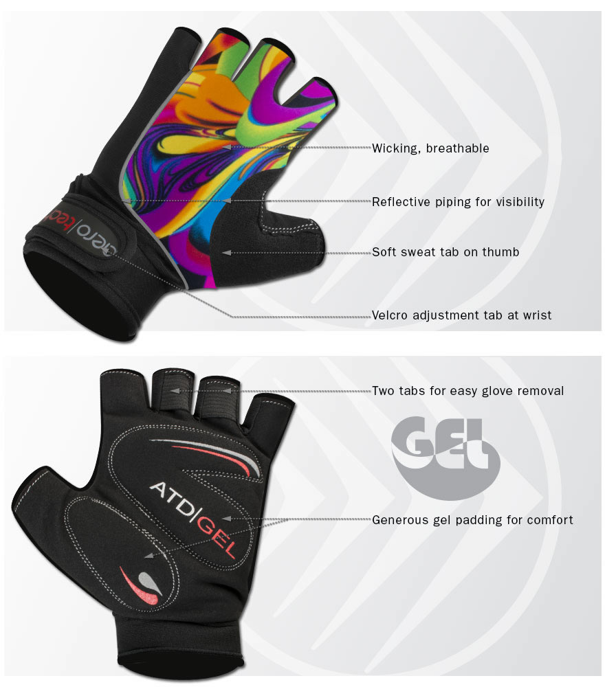 Wild Print Fingerless Padded Cycling Gloves Features