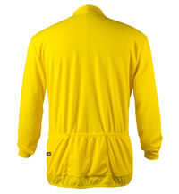 Big Man's Yellow Long Sleeve Cycling Jersey Back