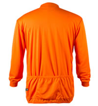 Big Man's Orange Long Sleeve Cycling Jersey Back