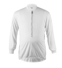 Big Man's White Long Sleeve Cycling Jersey Front