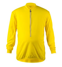 Big Man's Yellow Long Sleeve Cycling Jersey Front