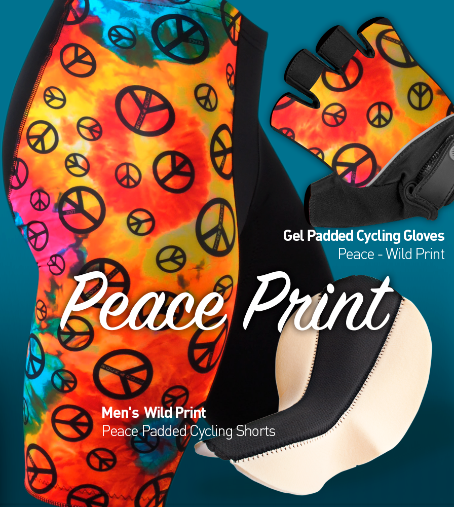 peace sign bike shorts with matching glovessi