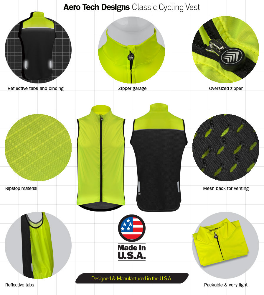 Classic Safety Yellow Cycling Wind Vest Features