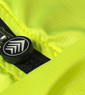 Safety Yellow Cycling Vest Zipper Pull Close-up