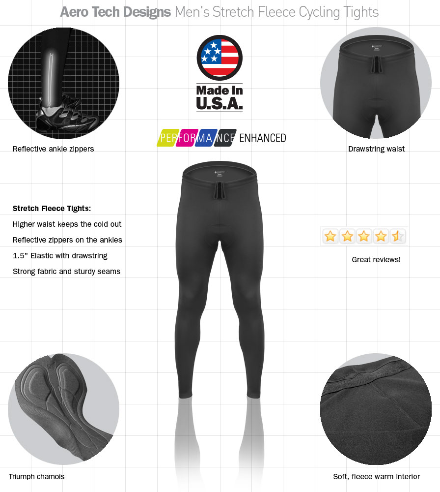 Men's Stretch Fleece Padded Cycling Tights Features