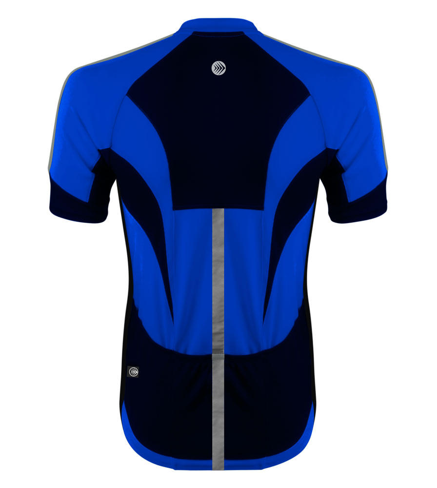 high visibility reflective safety bicycle jersey shown in royal blue back
