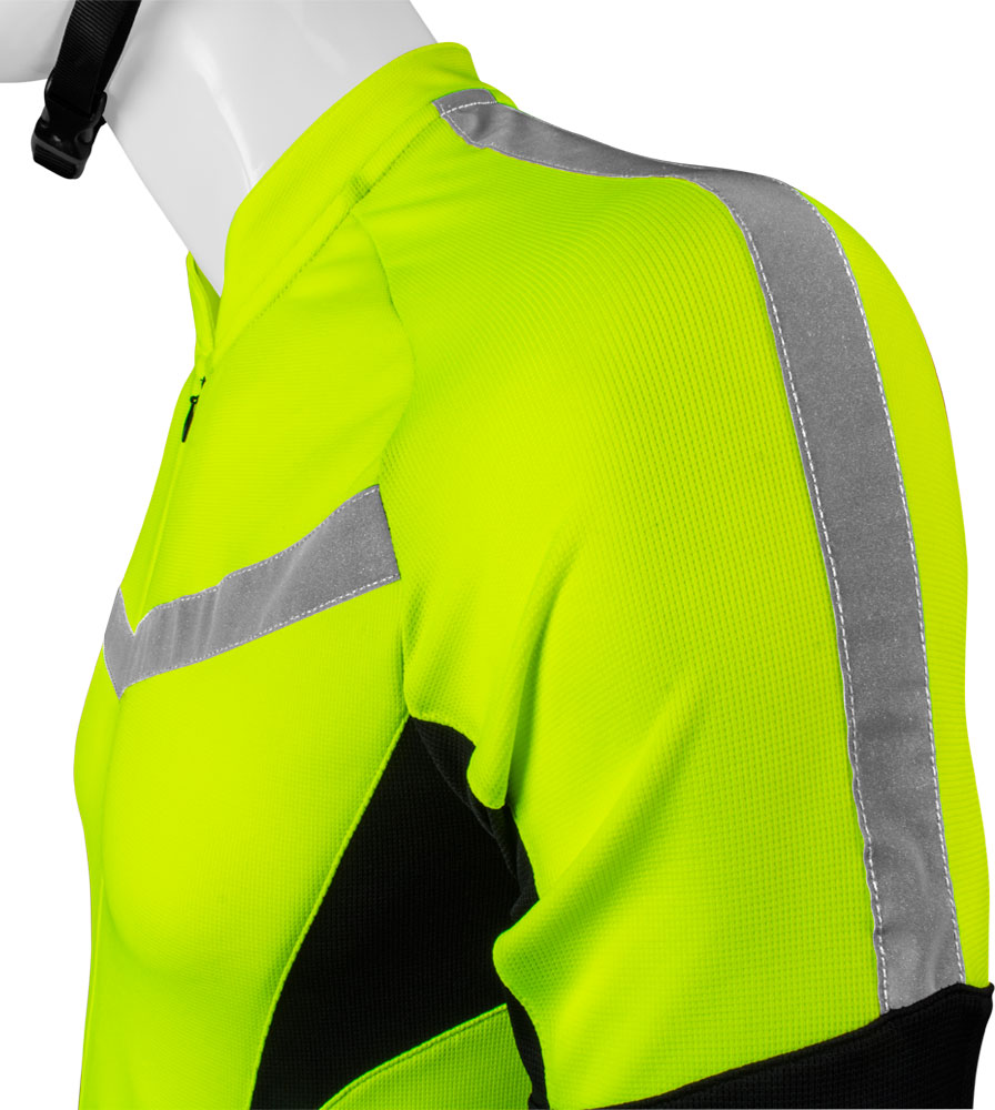high visibility reflective safety bicycle jersey shown side view sleeve  with safety reflective tape 4f13a75c7