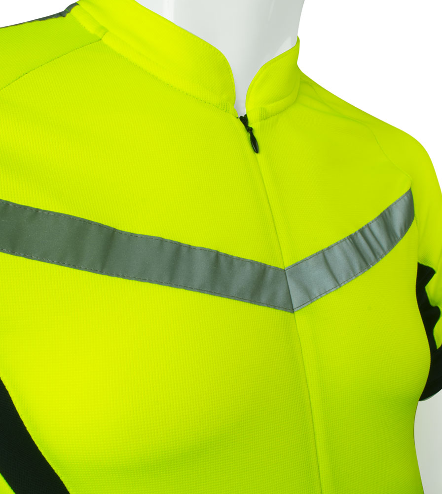 high visibility reflective safety bicycle jersey shown close up of zipper  wide reflective tape for safety 86047b0ac