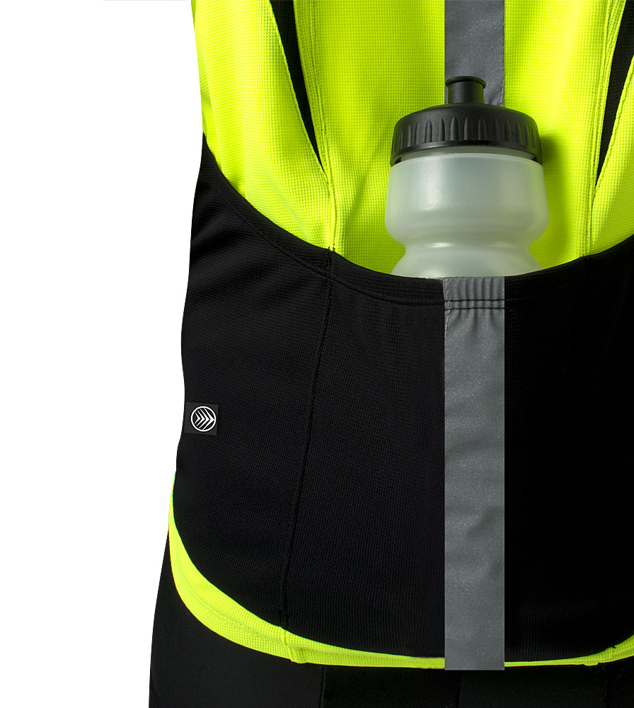 high visibility reflective safety bicycle jersey shown from rear pocket  close up view 2b168ccb5