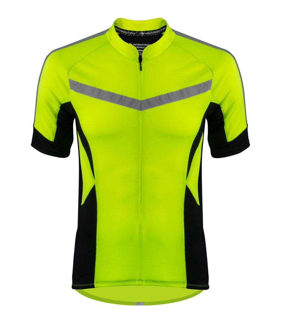 high visibility reflective safety bicycle jersey shown in yellowl front