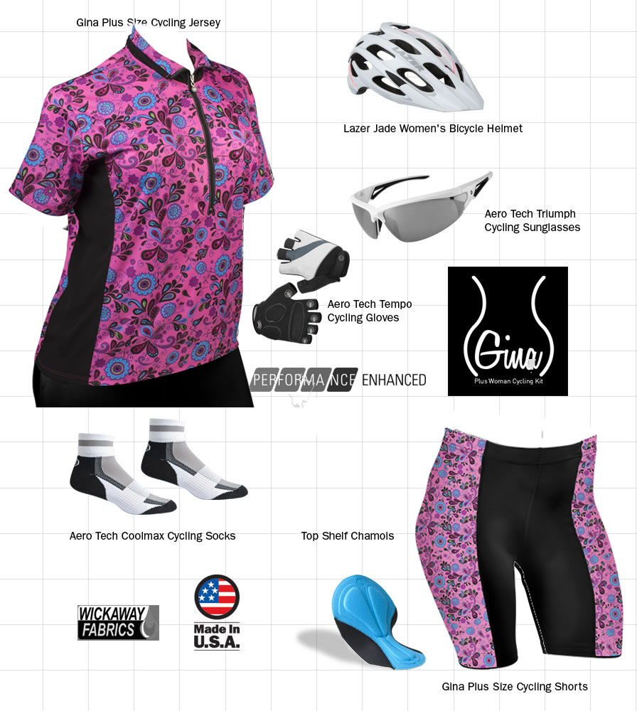 Plus Size Pizelle Cycling Kit