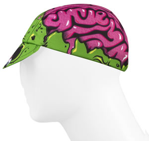 cycling cap side view of brains