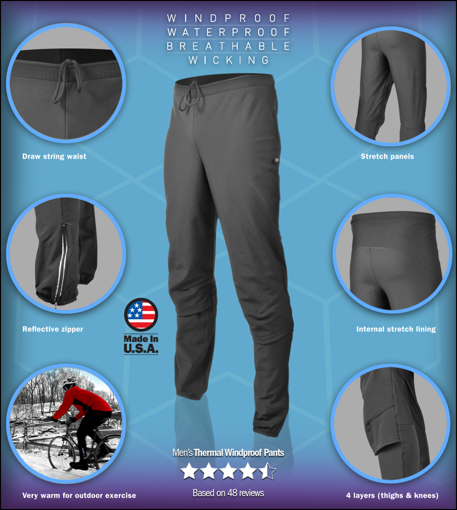 257c160f0564e8 Men's Thermal Fleece Cycling Tights - Cold Weather Insulated Tights