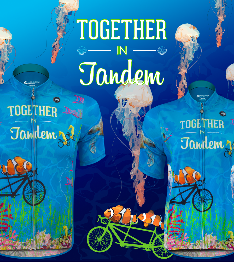 tandem cycling jersey with nemo clown fish riding on bikes
