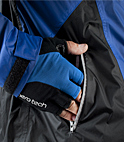 reflective zipper hand pocket on cycle jacket