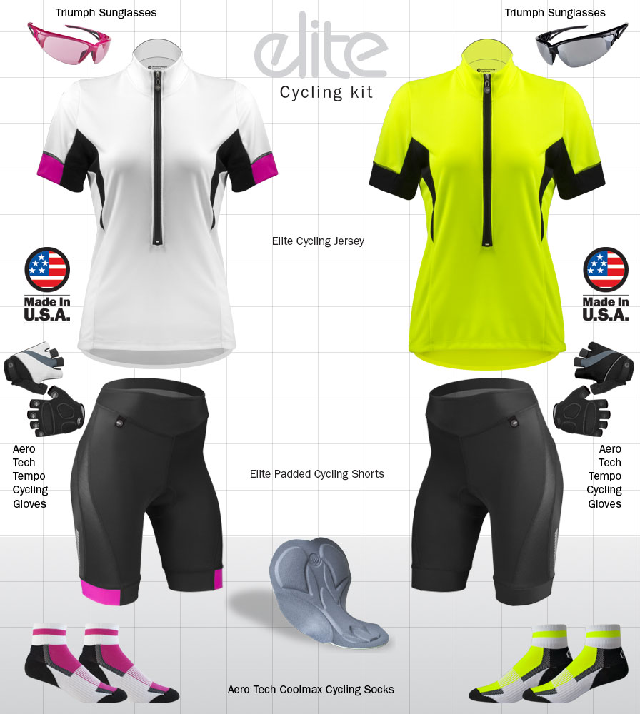 gear for elite female bike riders kits for lady cyclists bikers shorts matching jersey and bike riding kits safety yellow, pink and blue jerseys that are made for women