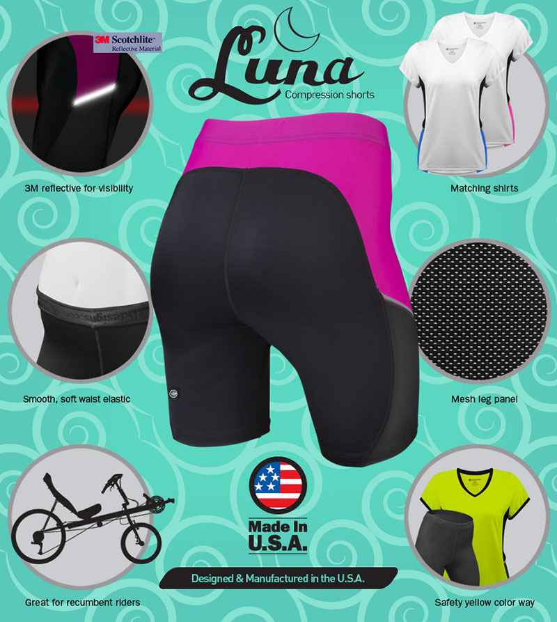 Luna recumbent compression shorts have plenty of features