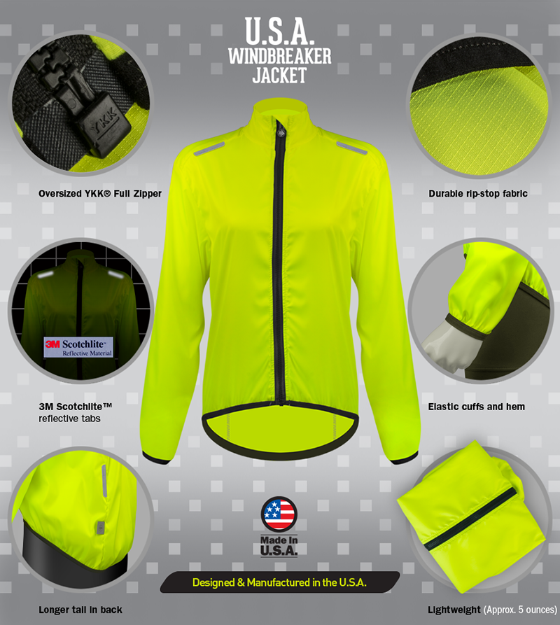 windbreaker jacket has lots of cycling features