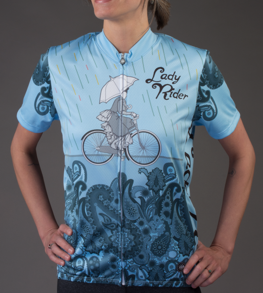 light blue designer bicycle jersey for women