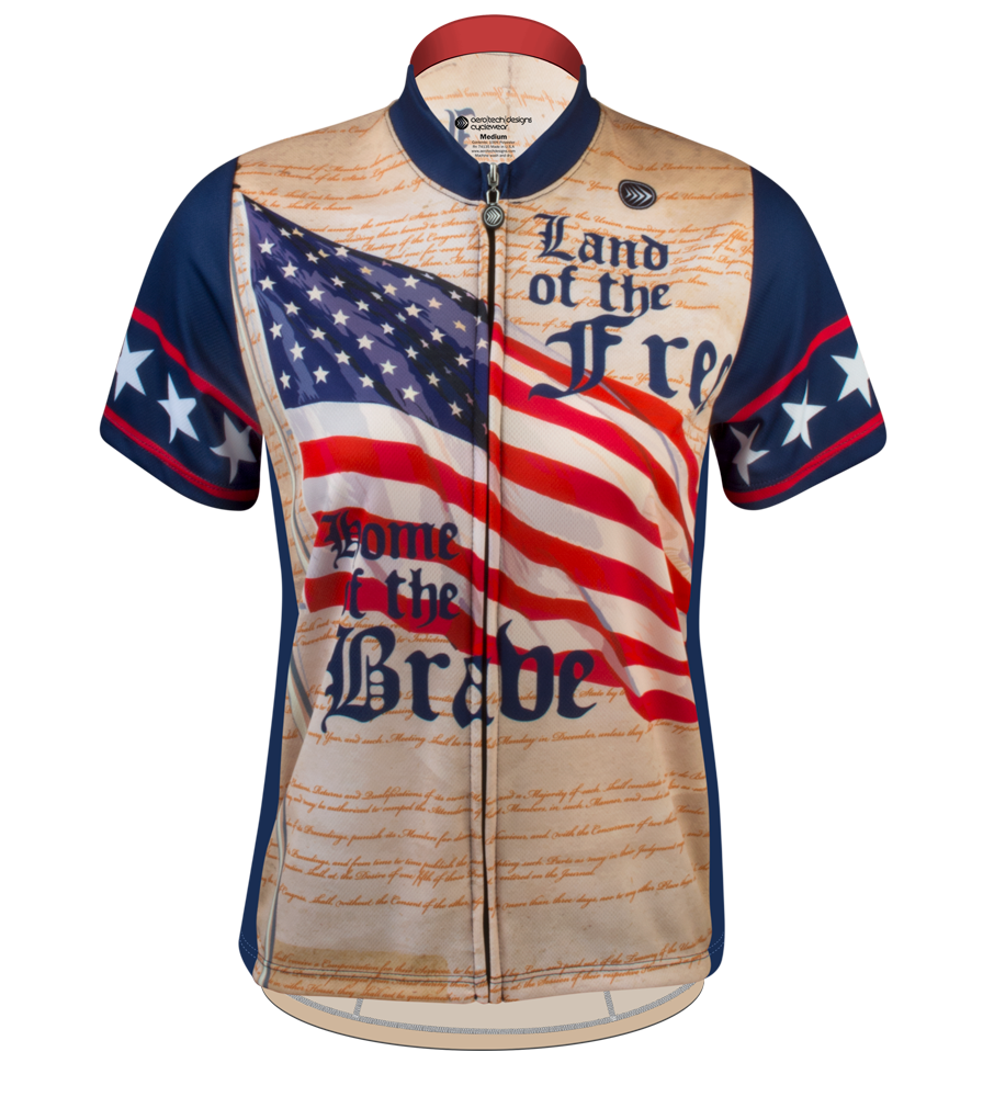 women's USA patriotic cycling jersey in red white and blue