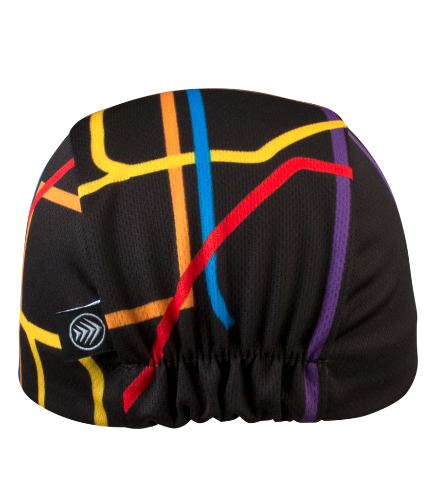 cycling cap is multi color with elastic back