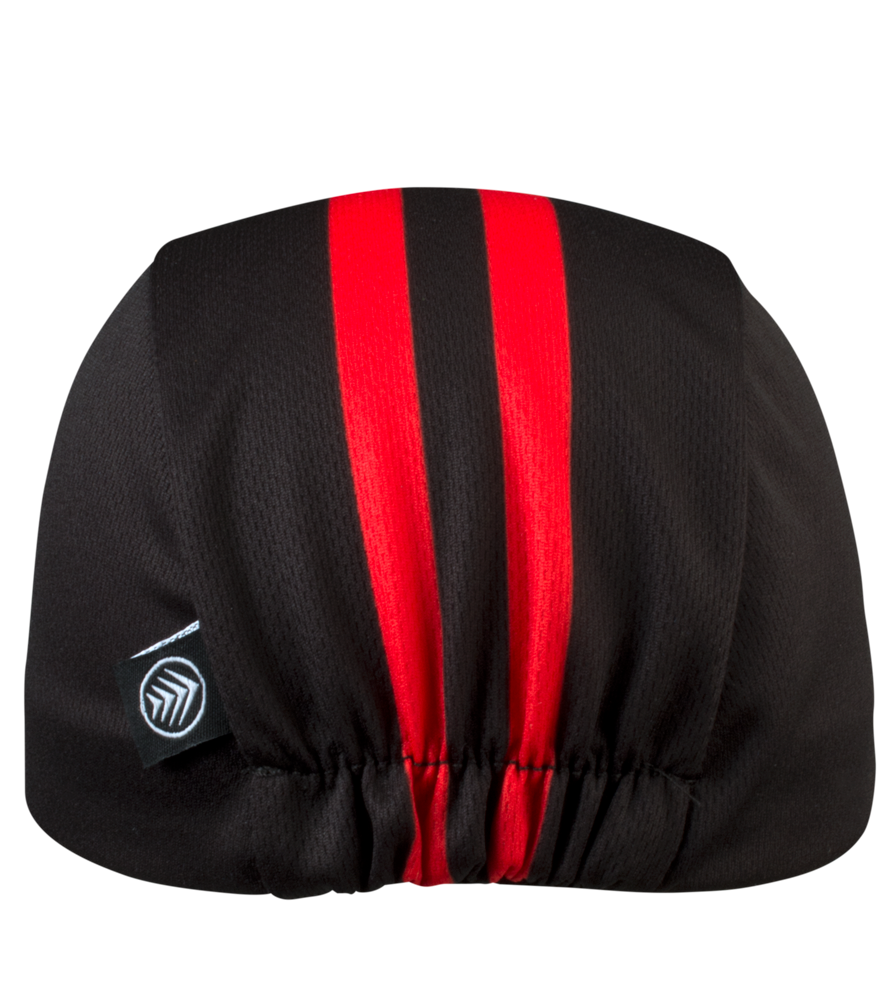 red and black stripe cycling cap
