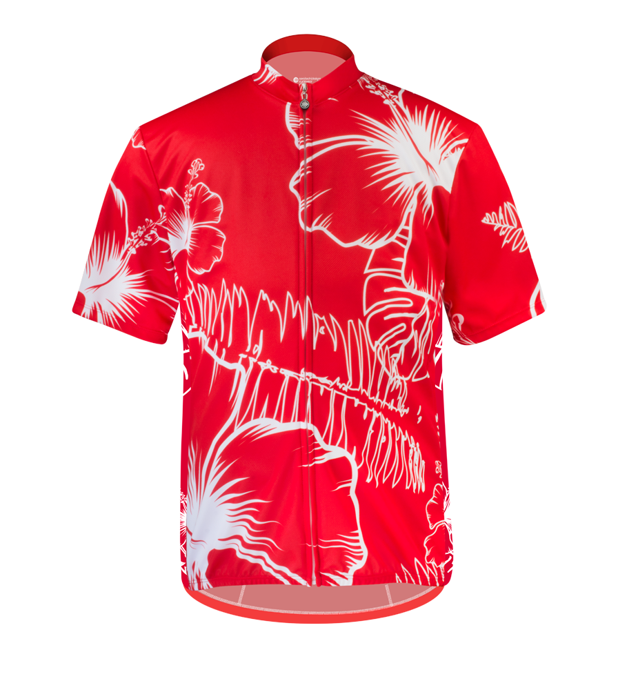 hawaiian cycling jersey in red for big size men