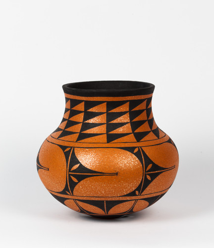 Black on Red Mica Clay Vase