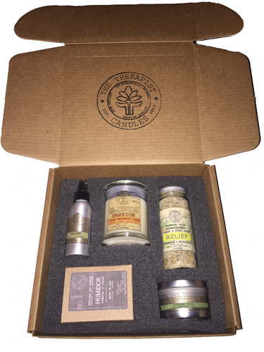 the therapist candles sampler box  What you will receive:  (1) 10 oz Glass Jar Candle  (1) 6 oz Tin Can Candle  (1) 12 oz Bath Soaking Salt  (1) 4 oz Room/Linen Spray  (1) 8.5 oz Masculine Collection Candle